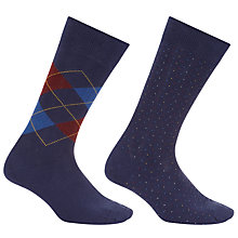 Buy John Lewis Made in Italy Cotton Cashmere Argyle Dot Socks, Pack of Two, Navy/Burgundy Online at johnlewis.com