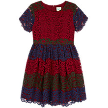 Buy Yumi Girl Tri Colour Lace Dress, Plum/Blue Online at johnlewis.com