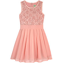 Buy Yumi Girl Sequin Sash Pleated Dress, Dusky Pink Online at johnlewis.com