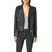 Buy AllSaints Rawley Leather Biker Jacket, Black Online at johnlewis.com