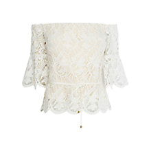 Buy Coast Lace Bardot Top, Ivory Online at johnlewis.com