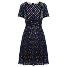 Buy Oasis Patched Lace Skater Dress, Navy Online at johnlewis.com