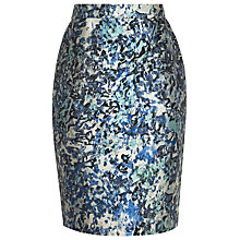 Buy Reiss Mattea Jacquard Pencil Skirt, Ice Blue/Steel Online at johnlewis.com