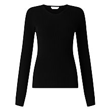 Buy BOSS Fahdi Ribbed Italian Merino Jumper, Black Online at johnlewis.com