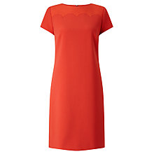 Buy BOSS Danuni Scalloped Textured Dress, Sienna Red Online at johnlewis.com