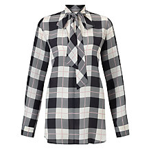 Buy Marella Mantide Silk Check Blouse, Black Online at johnlewis.com