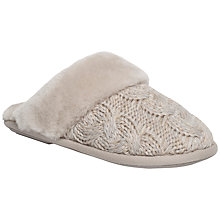 Buy Just Sheepskin Bloomsbury Knit Slippers, Stone Online at johnlewis.com
