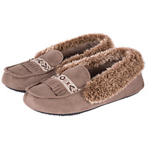 Buy Totes Woodlands Moccasin Slippers, Taupe Online at johnlewis.com