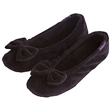 Buy Totes Velour Big Bow Slippers, Black Online at johnlewis.com