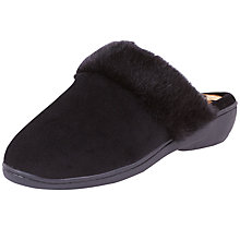 Buy Totes Heeled Pillowstop Mule Slippers, Black/Panther Online at johnlewis.com