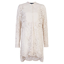 Buy French Connection Georgiana Lace Bib Shirt, Daisy White Online at johnlewis.com