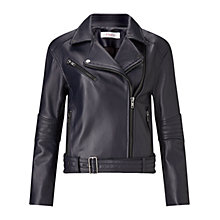 Buy Finery Vernon Forever Leather Jacket, Navy Online at johnlewis.com