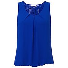 Buy Jacques Vert Chiffon Lace Blouse, Cobalt Online at johnlewis.com