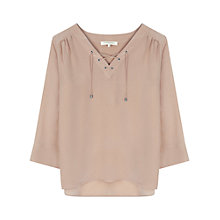 Buy Gerard Darel Chemise Lace Up Blouse, Pink Online at johnlewis.com