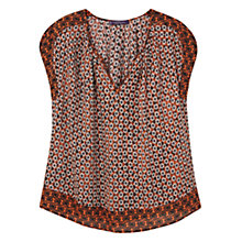 Buy Violeta by Mango Flowy Printed Blouse, Dark Orange Online at johnlewis.com
