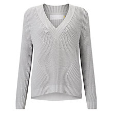 Buy Collection WEEKEND by John Lewis Chunky Rib Deep V-Neck Jumper, Pale Grey Online at johnlewis.com