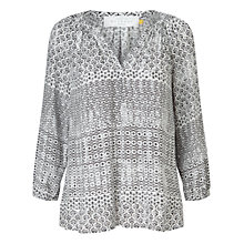 Buy Collection WEEKEND by John Lewis Lavinia Tile Print Blouse, Black/ Ivory Online at johnlewis.com