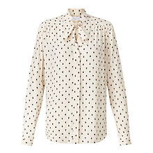 Buy Collection WEEKEND by John Lewis Mini Geo Print Pussybow Blouse, Ivory Online at johnlewis.com