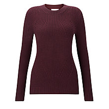 Buy Collection WEEKEND by John Lewis Chunky Rib Crew Neck Jumper, Burgundy Online at johnlewis.com
