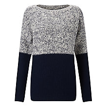 Buy Collection WEEKEND by John Lewis Moss Stitch Colour Block Jumper, Navy Online at johnlewis.com