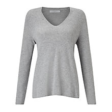 Buy John Lewis Rib Stitch V-Neck Tunic Jumper, Silver Grey Melange Online at johnlewis.com