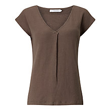 Buy John Lewis Linen Jersey Pleat Front V-Neck Top, Khaki Online at johnlewis.com