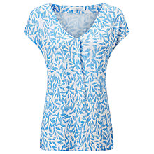 Buy John Lewis Linen Jersey Pleat Front Leaf Print Top, Blue/White Online at johnlewis.com
