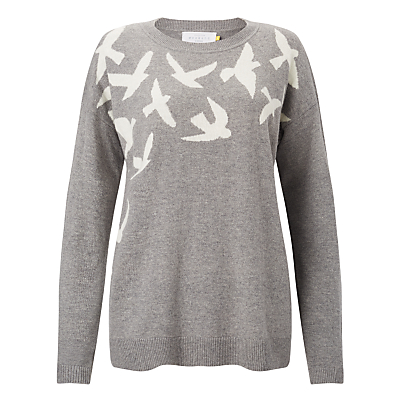 Collection WEEKEND by John Lewis Bird Intarsia Jumper, Grey