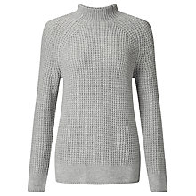 Buy John Lewis Stretch Funnel Neck Jumper, Silver Grey Melange Online at johnlewis.com