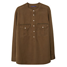 Buy Violeta by Mango Linen-Blend Pocket Blouse, Medium Green Online at johnlewis.com