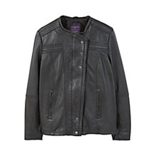 Buy Violeta by Mango Stitched Leather Jacket, Black Online at johnlewis.com
