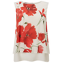 Buy Phase Eight Double Layer Pop Print Top, Red/White Online at johnlewis.com