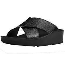 Buy FitFlop Crystall Cross Strap Sandals, Black Online at johnlewis.com