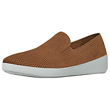 Buy FitFlop Fpop Skate Slip On Trainers, Tan Online at johnlewis.com
