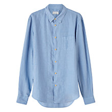 Buy Jigsaw Linen Garment Dye Slim Shirt, Chambray Online at johnlewis.com