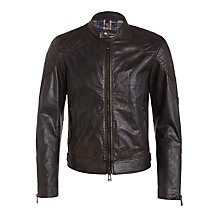 Buy Belstaff Outlaw Leather Jacket, Black Online at johnlewis.com