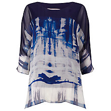 Buy Phase Eight Martyna Silk Top, Blue/White Online at johnlewis.com