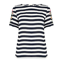 Buy Oasis Striped Embellishment T-Shirt, Black/White Online at johnlewis.com