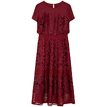 Buy Ted Baker Sheer Panel Lace Dress, Oxblood Online at johnlewis.com
