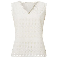 Buy Phase Eight Tessa Broderie Sleeveless Top, White Online at johnlewis.com