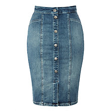 Buy Calvin Klein High Rise Seam Skirt, Gogo Blue Online at johnlewis.com