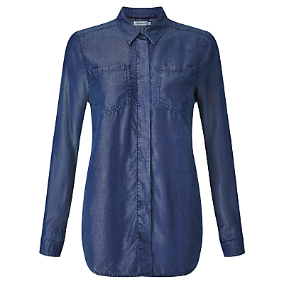 Calvin Klein 2 Pocket Boyfriend Shirt, Calm Blue