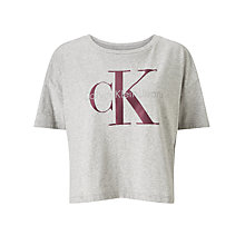 Buy Calvin Klein Teca-13 Cropped Logo T-Shirt, Light Grey Heather Online at johnlewis.com
