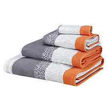 Buy John Lewis Kaspar Towels  Clementine / Grey Online at johnlewis.com