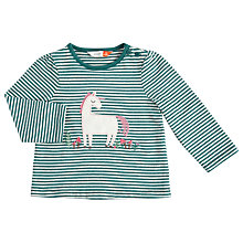 Buy John Lewis Baby Appliqué Unicorn Stripe T-Shirt, Green Online at johnlewis.com