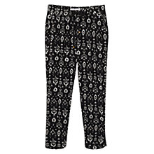 Buy Mango Printed Baggy Trousers, Black Online at johnlewis.com
