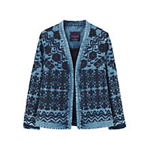 Buy Violeta by Mango Embroidered Denim Jacket, Open Blue Online at johnlewis.com