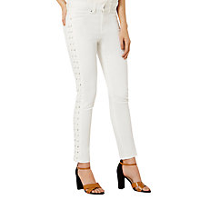 Buy Karen Millen Lace-Up Capri Jeans, Ivory Online at johnlewis.com