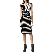 Buy AllSaints Adria Stripe Dress, Black / Grey Online at johnlewis.com
