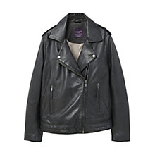Buy Violeta by Mango Leather Biker Jacket, Black Online at johnlewis.com
